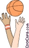 Vector Clipart illustration  of a Basket ball jump off