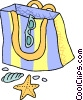 Vector Clip Art image  of a Beach bag with shells