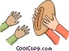 Passing the football Vector Clip Art graphic
