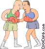 Vector Clip Art image  of a Boxers sparring