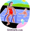 Vector Clip Art graphic  of a Swimming in a pool