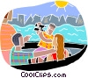 Tourists on a boat ride Vector Clipart image