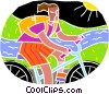 Vector Clip Art graphic  of a Riding a bicycle