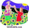 Vector Clip Art graphic  of a Family walking through a field