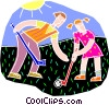 Vector Clipart graphic  of a Playing field hockey