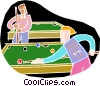 People playing pool Vector Clipart illustration