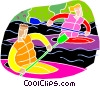 People kayaking Vector Clip Art image