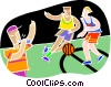 Ref calling a basketball game Vector Clip Art image