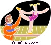Vector Clip Art image  of a Girl getting instruction on a