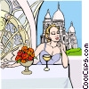 Woman having wine in French caf� Vector Clipart image