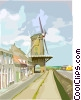 Vector Clip Art image  of a Windmill in Holland
