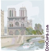 Notre Dame Cathedral Paris, France on River Seine Vector Clipart illustration