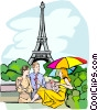 Vector Clipart image  of a Tourist by the Eiffel Tower