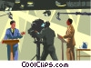 Vector Clipart graphic  of a Filming a debate