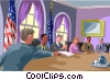 Vector Clip Art graphic  of a Cabinet members around a table