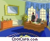 Vector Clip Art graphic  of a Inside the Oval office