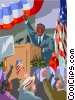 Vector Clip Art picture  of a Politician giving speech