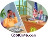 Vector Clip Art picture  of a calling a local official