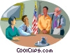 Vector Clipart image  of a Local official argues in front
