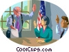 Vector Clipart image  of a Committee takes a vote (3 of 4