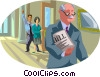 official carrying a signed document Vector Clipart illustration