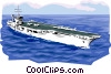 Vector Clipart illustration  of an Aircraft carrier