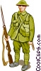 Soldier with weapon Vector Clipart illustration