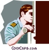 Vector Clipart graphic  of a Marine looking through