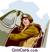 Vector Clip Art graphic  of a Pilot in fighter lane