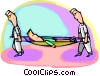 Vector Clipart graphic  of a Patient being carried in