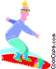 Vector Clipart picture  of a Snow boarding