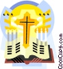 Religious items, the Cross with Bible Vector Clip Art graphic