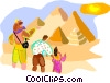Vector Clipart illustration  of a Tourists near pyramids in