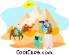 Tourists in Egypt by the Pyramids Vector Clip Art image