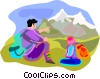 Vector Clip Art picture  of a Tourist near mountains in