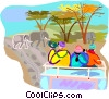 Tourists on a safari tour Vector Clip Art graphic