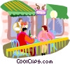 Couple at cafe with violinist playing Vector Clip Art picture