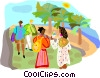 Vector Clipart image  of a Tourists walking