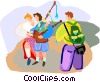 Vector Clipart graphic  of a Tourists in Scotland