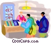 Tourist at information center Vector Clipart graphic