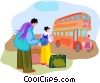 Vector Clip Art graphic  of a Tourists waiting for double-decker bus