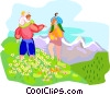 Family on wilderness hike Vector Clip Art picture