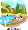 Tourists in swimming pool Vector Clipart image