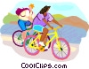 Vector Clip Art picture  of a Bike riding near water