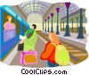 Tourists catching train Vector Clipart illustration