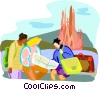 Tourists looking at map Vector Clipart illustration