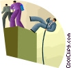 Vector Clipart illustration  of a businessmen overcoming