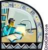 Person reading Vector Clip Art picture