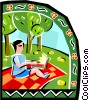 Person on a picnic with computer Vector Clipart picture