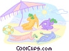 Vector Clipart graphic  of a Lounging on the beach
